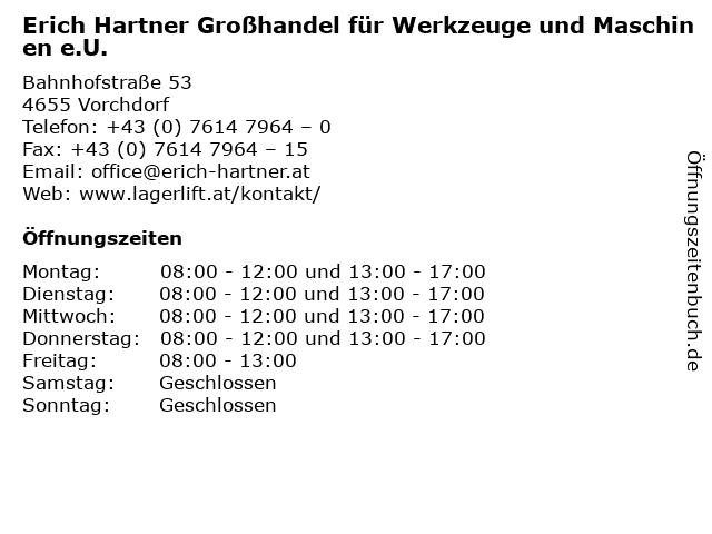 Erich Hartner Großhandel für Werkzeuge und Maschinen e.U. in Vorchdorf: Adresse und Öffnungszeiten