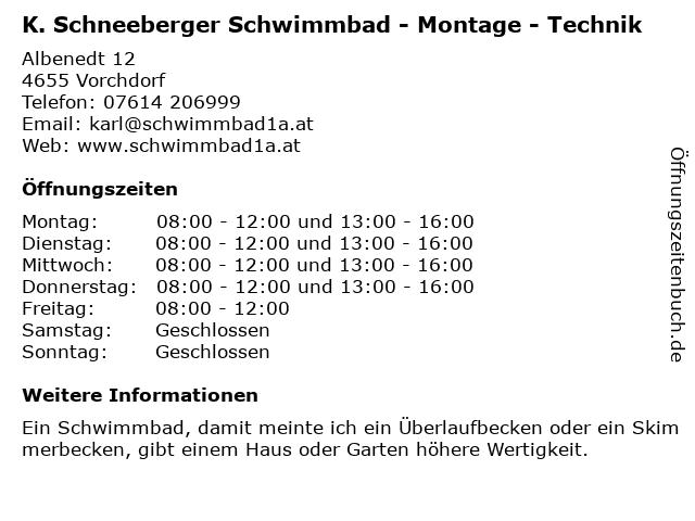 K. Schneeberger Schwimmbad - Montage - Technik in Vorchdorf: Adresse und Öffnungszeiten