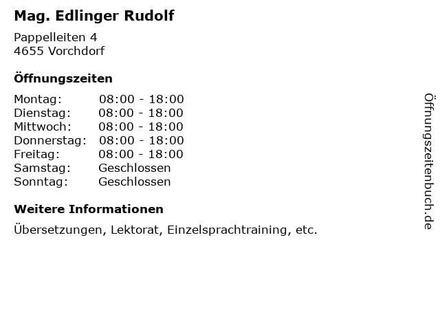 Mag. Edlinger Rudolf in Vorchdorf: Adresse und Öffnungszeiten