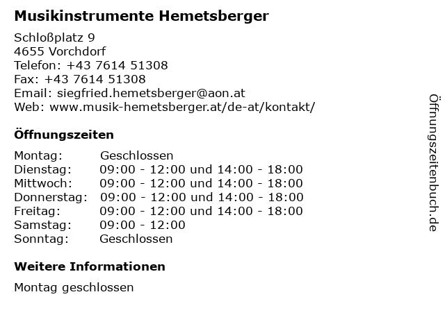 Musikinstrumente Hemetsberger in Vorchdorf: Adresse und Öffnungszeiten