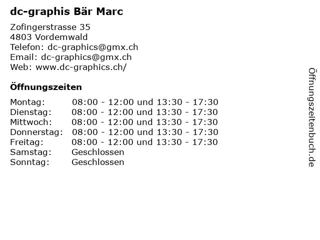 dc-graphis Bär Marc in Vordemwald: Adresse und Öffnungszeiten