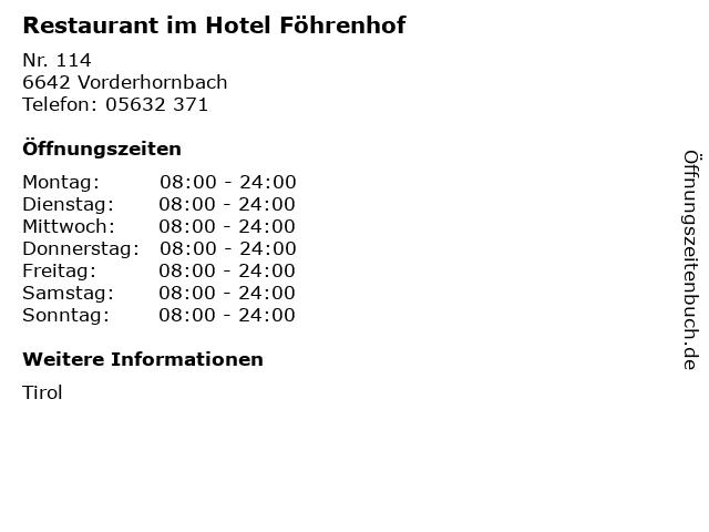 Restaurant im Hotel Föhrenhof in Vorderhornbach: Adresse und Öffnungszeiten