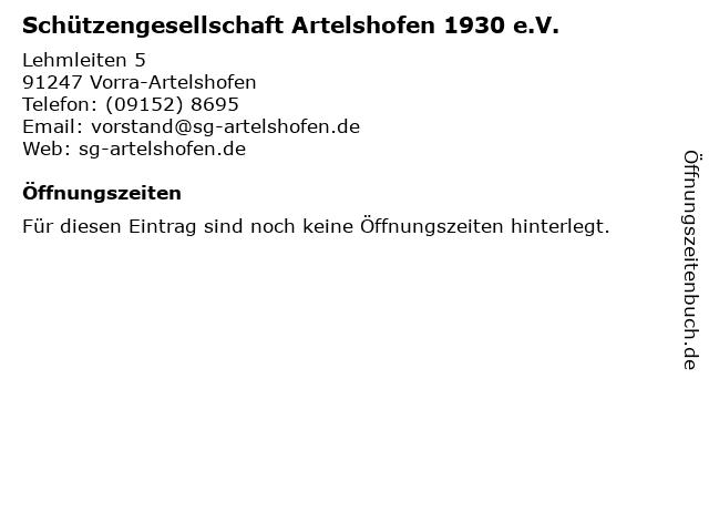 Schützengesellschaft Artelshofen 1930 e.V. in Vorra-Artelshofen: Adresse und Öffnungszeiten