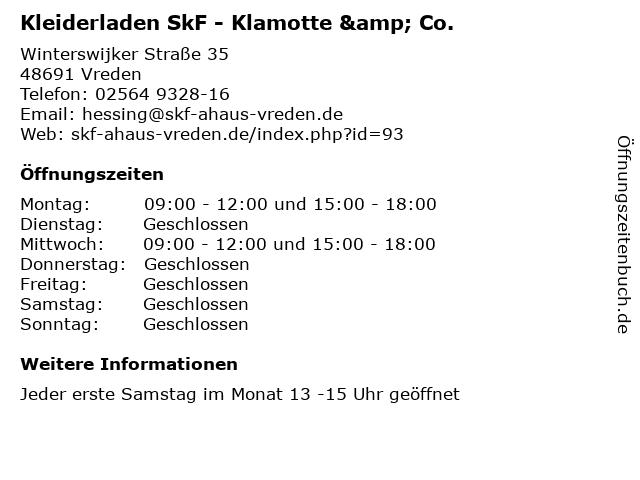 Kleiderladen SkF - Klamotte & Co. in Vreden: Adresse und Öffnungszeiten