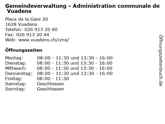 Gemeindeverwaltung - Administration communale de Vuadens in Vuadens: Adresse und Öffnungszeiten