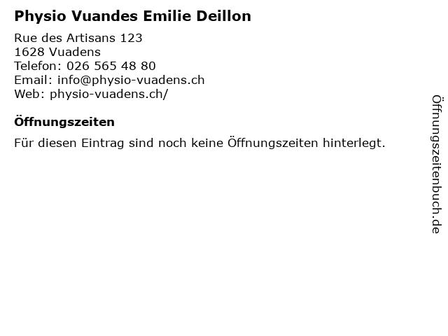 Physio Vuandes Emilie Deillon in Vuadens: Adresse und Öffnungszeiten