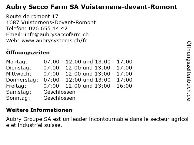 Aubry Sacco Farm SA Vuisternens-devant-Romont in Vuisternens-Devant-Romont: Adresse und Öffnungszeiten