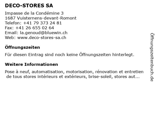 DECO-STORES SA in Vuisternens-devant-Romont: Adresse und Öffnungszeiten