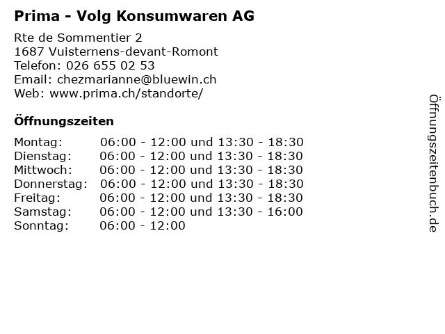 Prima - Volg Konsumwaren AG in Vuisternens-devant-Romont: Adresse und Öffnungszeiten
