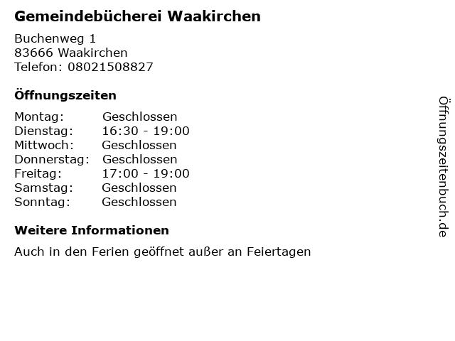 Gemeindebücherei Waakirchen in Waakirchen: Adresse und Öffnungszeiten