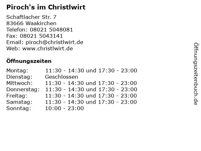 Piroch's im Christlwirt in Waakirchen: Adresse und Öffnungszeiten