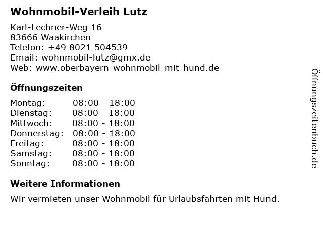 Wohnmobil-Verleih Lutz in Waakirchen: Adresse und Öffnungszeiten