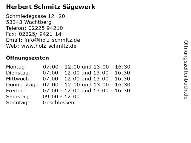 Herbert Schmitz Sägewerk in Wachtberg: Adresse und Öffnungszeiten