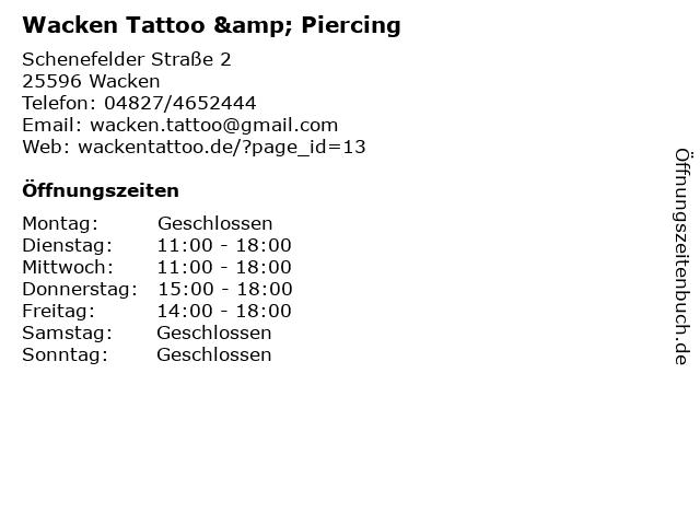 Wacken Tattoo & Piercing in Wacken: Adresse und Öffnungszeiten