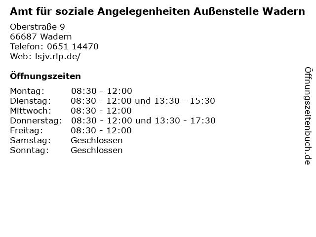 Amt für soziale Angelegenheiten Außenstelle Wadern in Wadern: Adresse und Öffnungszeiten