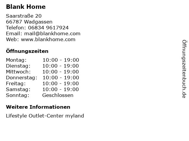 Blank Home in Wadgassen: Adresse und Öffnungszeiten
