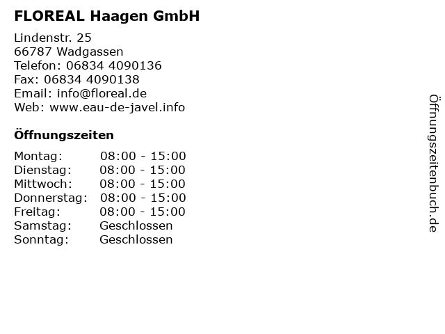FLOREAL Haagen GmbH in Wadgassen: Adresse und Öffnungszeiten