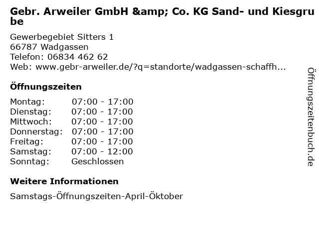 Gebr. Arweiler GmbH & Co. KG Sand- und Kiesgrube in Wadgassen: Adresse und Öffnungszeiten