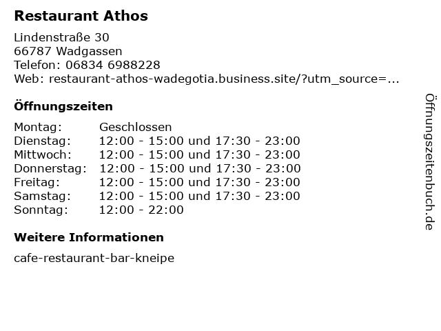 Restaurant Athos in Wadgassen: Adresse und Öffnungszeiten