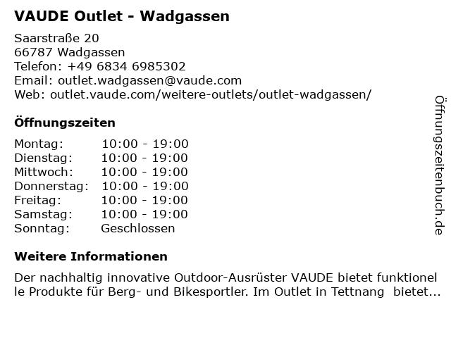 VAUDE Outlet - Wadgassen in Wadgassen: Adresse und Öffnungszeiten