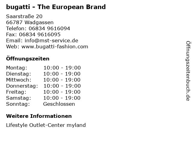 bugatti - The European Brand in Wadgassen: Adresse und Öffnungszeiten