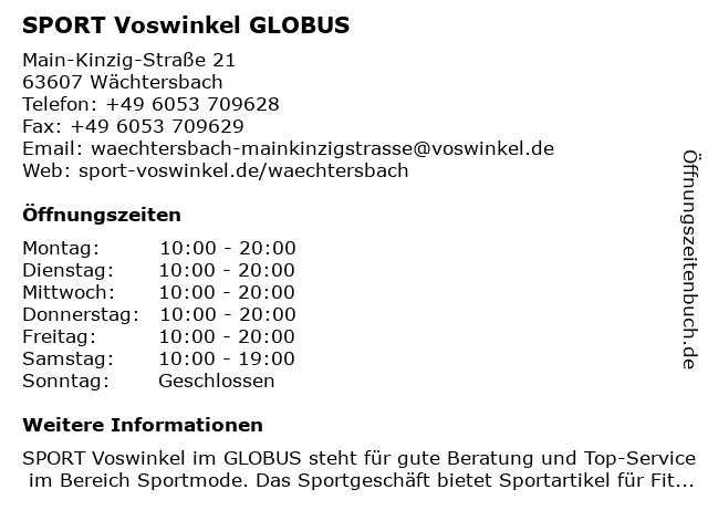 INTERSPORT Voswinkel GLOBUS in Wächtersbach: Adresse und Öffnungszeiten