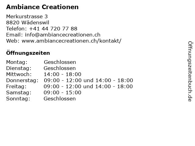Ambiance Creationen in Wädenswil: Adresse und Öffnungszeiten
