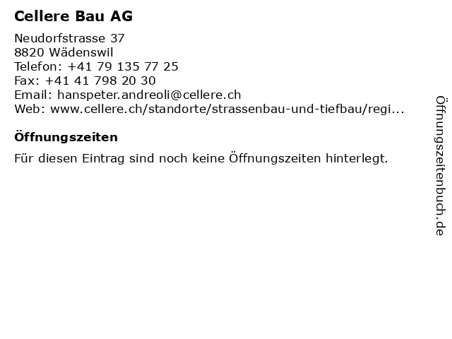 Cellere Bau AG in Wädenswil: Adresse und Öffnungszeiten