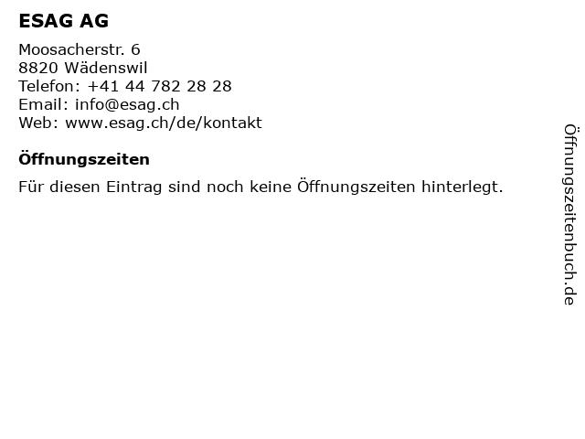 ESAG AG in Wädenswil: Adresse und Öffnungszeiten
