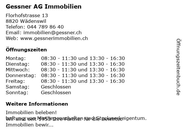 Gessner AG Immobilien in Wädenswil: Adresse und Öffnungszeiten