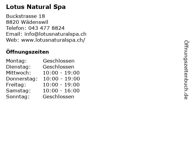 Lotus Natural Spa in Wädenswil: Adresse und Öffnungszeiten