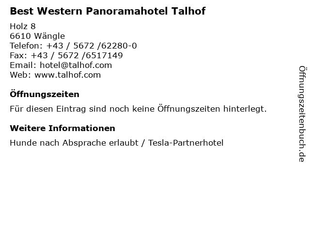 Best Western Panoramahotel Talhof in Wängle: Adresse und Öffnungszeiten