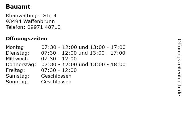 Bauamt in Waffenbrunn: Adresse und Öffnungszeiten