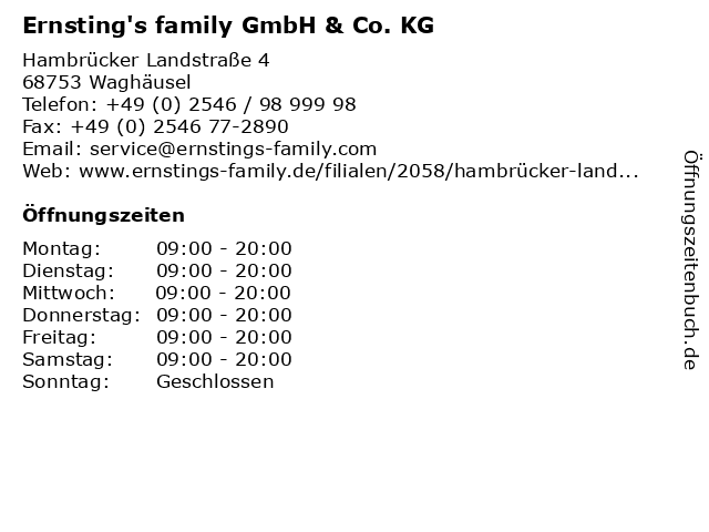 Ernsting's family GmbH & Co. KG in Waghäusel: Adresse und Öffnungszeiten