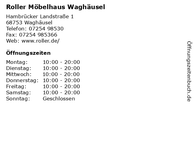 ᐅ öffnungszeiten Roller Möbelhaus Waghäusel Hambrücker