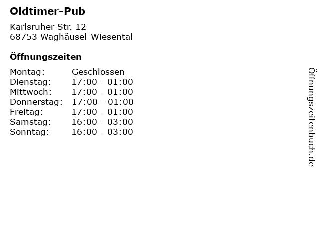 Oldtimer-Pub in Waghäusel-Wiesental: Adresse und Öffnungszeiten