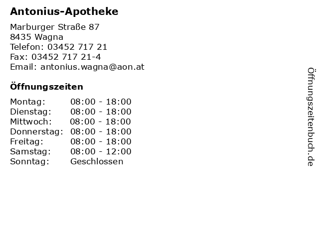Antonius-Apotheke in Wagna: Adresse und Öffnungszeiten