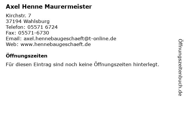 Axel Henne Maurermeister in Wahlsburg: Adresse und Öffnungszeiten