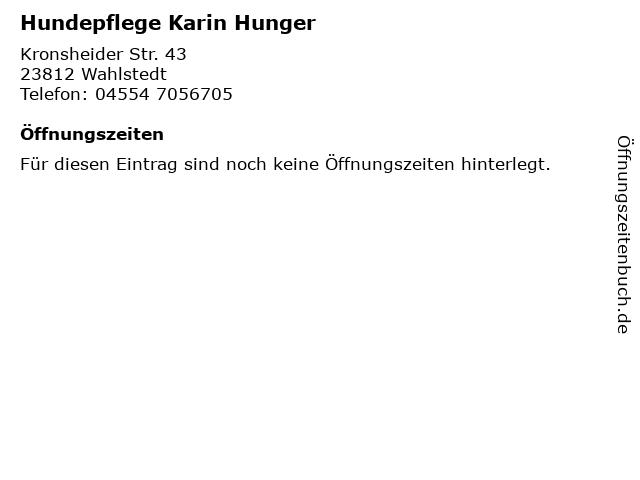 Hundepflege Karin Hunger in Wahlstedt: Adresse und Öffnungszeiten