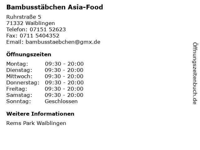 Bambusstäbchen Asia-Food in Waiblingen: Adresse und Öffnungszeiten
