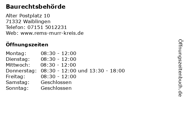 Baurechtsbehörde in Waiblingen: Adresse und Öffnungszeiten