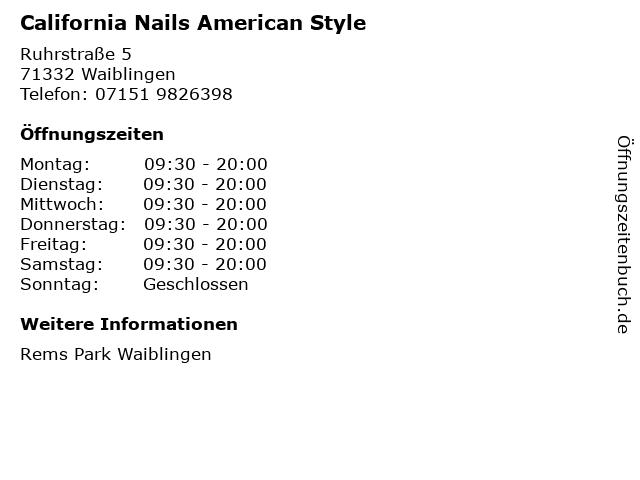 California Nails American Style in Waiblingen: Adresse und Öffnungszeiten