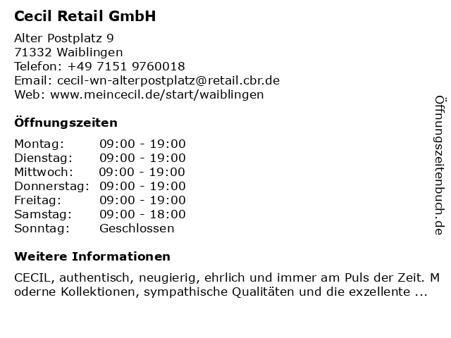 Cecil Retail GmbH in Waiblingen: Adresse und Öffnungszeiten