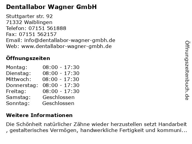 Reinhard Fiolka Dentallabor in Waiblingen: Adresse und Öffnungszeiten