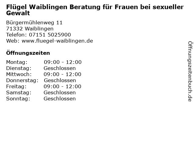 Flügel Waiblingen Beratung für Frauen bei sexueller Gewalt in Waiblingen: Adresse und Öffnungszeiten