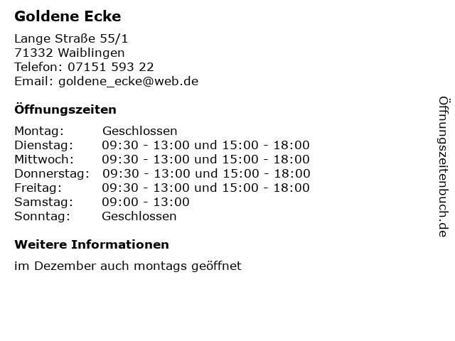 Goldene Ecke in Waiblingen: Adresse und Öffnungszeiten
