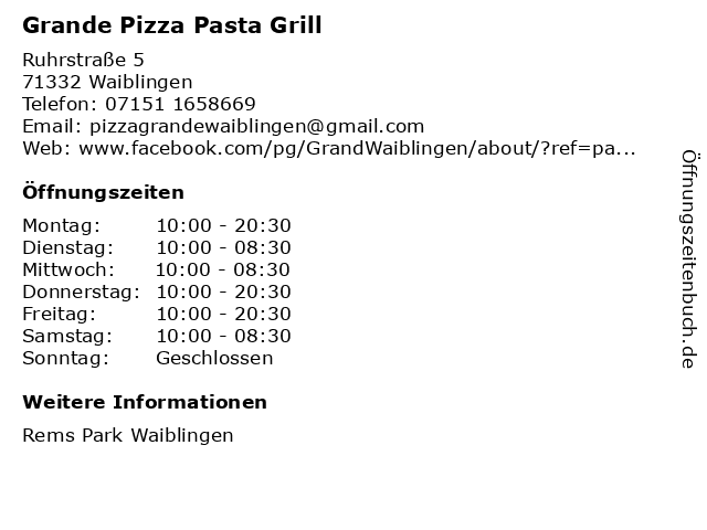 Grande Pizza Pasta Grill in Waiblingen: Adresse und Öffnungszeiten