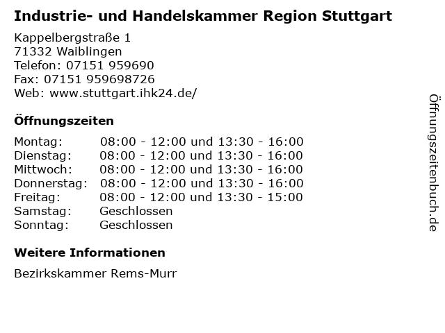 Industrie- und Handelskammer Region Stuttgart in Waiblingen: Adresse und Öffnungszeiten