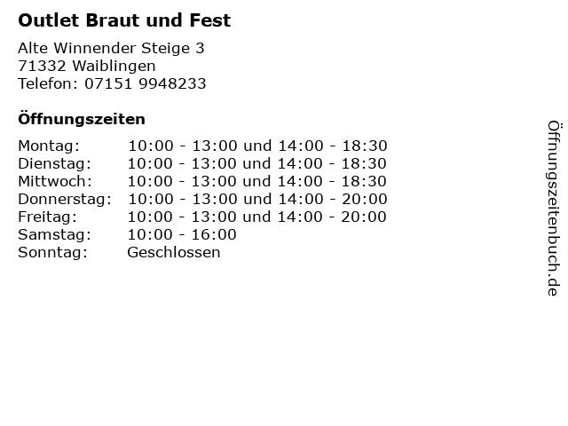 Outlet Braut und Fest in Waiblingen: Adresse und Öffnungszeiten