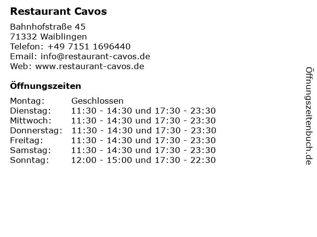 Restaurant Cavos in Waiblingen: Adresse und Öffnungszeiten